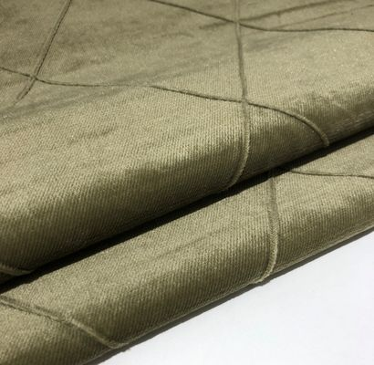 Hand Sewing Pleated Italian Velvet Upholstery Fabric With Lattice Curtain Pattern